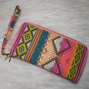 NEW Aztec Print Boho Double Zip Wallet Wristlet